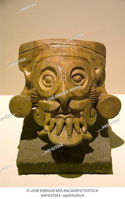 El  Salvador. San Salvador city. MUNA (National Museum of Antropology).Vessel of Tláloc.Ceramic leaden .Pre-Columbian art