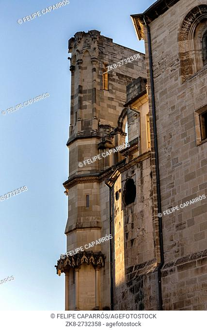 Detail of facade of the Cuenca's Cathedral, The cathedral is dedicated to St Julian, gothic english-norman style, XII century