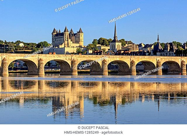 France, Maine et Loire, Loire Valley listed as World Heritage by UNESCO, the castle of Saumur and the Loire river
