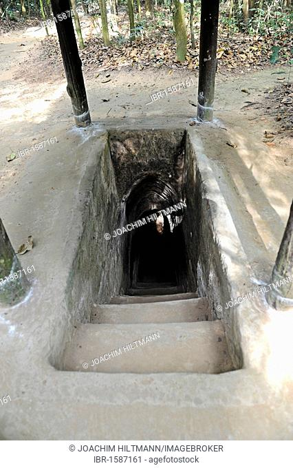 Entrance to the tunnel system of the Vietcong in Cu Chi, South Vietnam, Vietnam, Southeast Asia, Asia