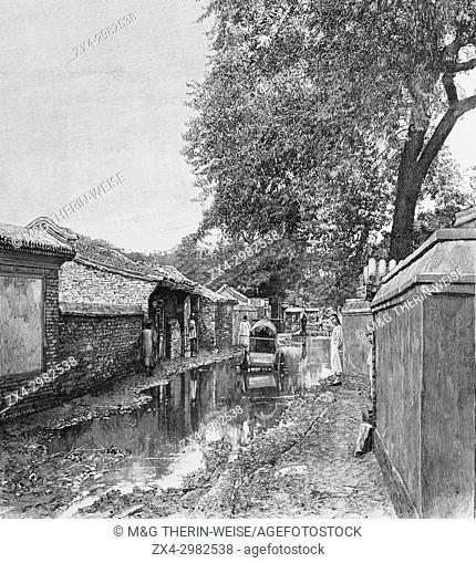 Beijing 1900, Street after a heavy rain, Picture from the French weekly newspaper l'Illustration, 11 th August 1900