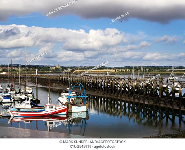 Amble Marina with Warkworth Castle in the Distance Amble by the Sea Northumberland England