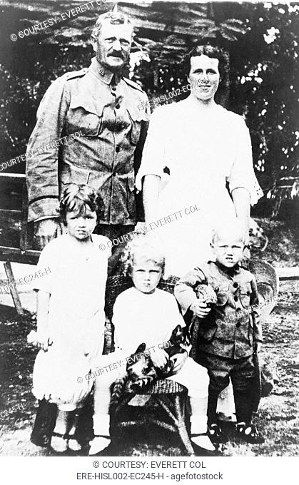 General John Pershing 1860-1948 with wife and three children. In 1915 his wife and two of their three young children were killed in a fire at the Presidio of...