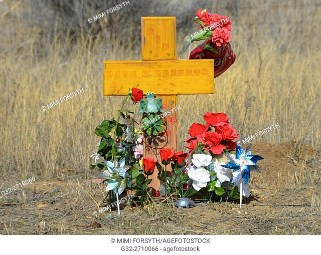 Roadside memorial to automobile accident victim. New Mexico, USA