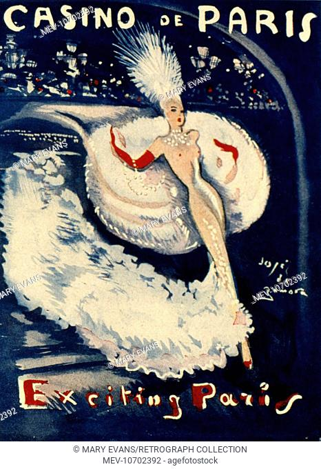 Programme cover for Casino de Paris, Exciting Paris, depicting a naked dancer