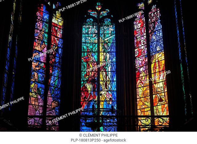 Stained glass windows by Jacques Villon in the Gothic Cathedral of St Stephen of Metz / Cathédrale Saint-Étienne de Metz, Moselle, Lorraine, France