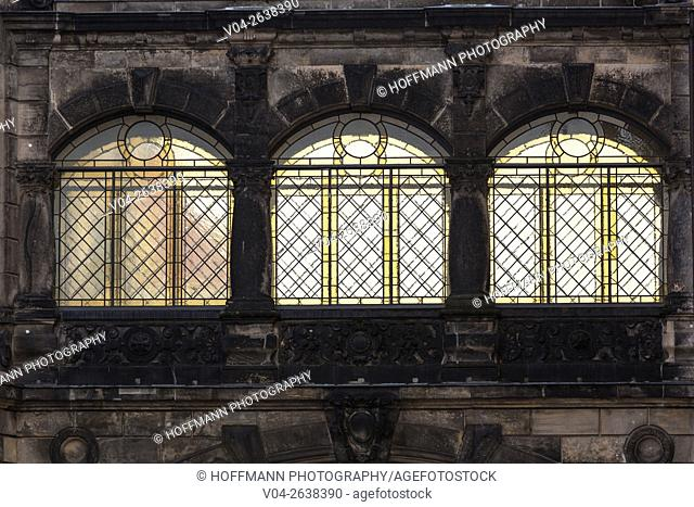 Close up of beautiful stained glass windows in Dresden, Saxony, Germany, Europe