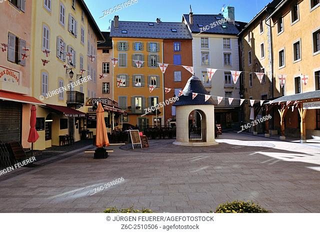 Square in Briancon, historic town in the mountains, highest town of Europe, Hautes-Alpes, French Alps, France