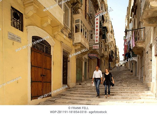 Maltese Islands, Malta, Valletta, St Ursula Street, The Street of Steps