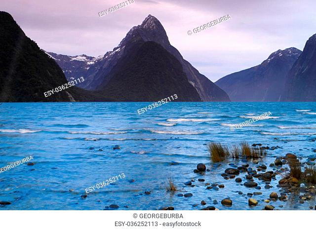 Mitre Peak in Milford Sound, South Island, New Zealand