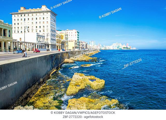 Seascape of Havana Cuba. The historic center of Havana is UNESCO World Heritage Site since 1982