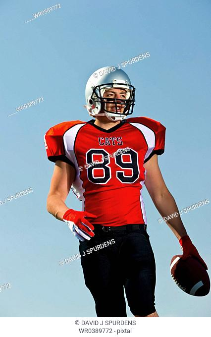 American Football player with wide reciever number on jersey