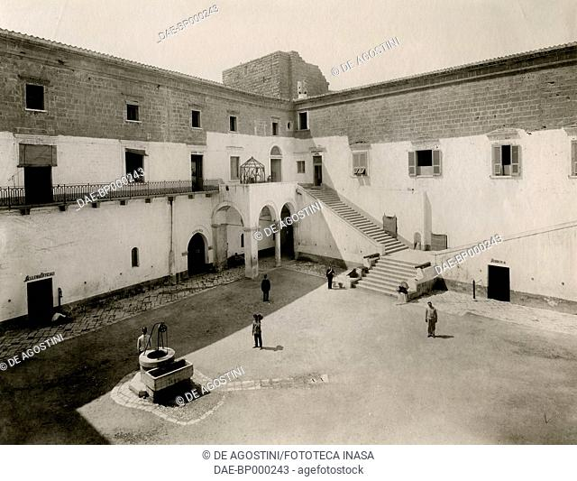 Inner courtyard of Svevo castle, seen from the courtyard, Bari, Apulia, Italy, photograph from Istituto Italiano d'Arti Grafiche, Bergamo, 1907-1909