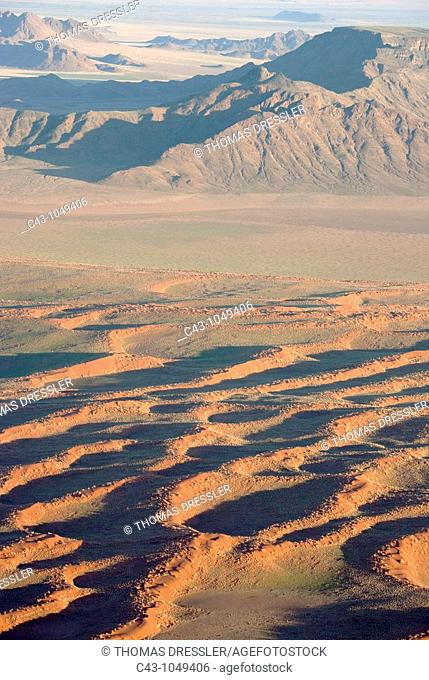 Namibia - Sand dunes and isolated mountain ridges at the edge of the Namib Desert  In March during the rainy season with a delicate carpet of green desert grass...
