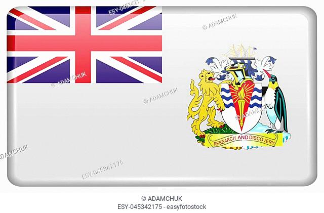 Flags of British Antarctic Territory in the form of a magnet on refrigerator with reflections light. illustration