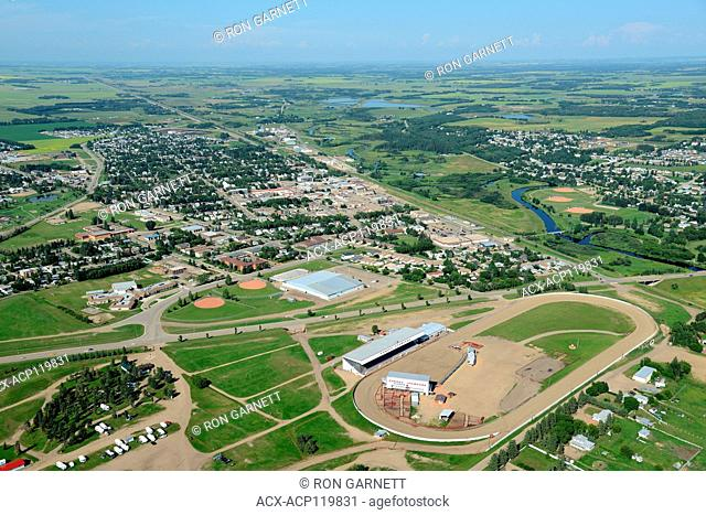 aerial, rodeo grounds, Ponoka, Alberta