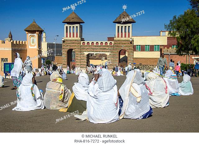 Orthodox women praying at the Easter ceremony, Coptic Cathedral of St. Mariam, Asmara, capital of Eritrea, Africa