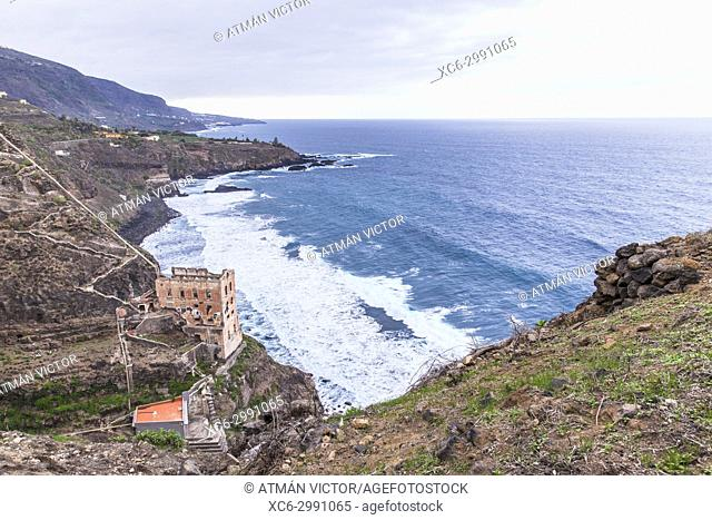 protected space of Rambla de Castro. In the foreground La Gordejuela water station. Tenerife island. Spain