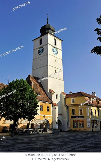 Council Tower on the Grand Square, Sibiu, Transylvania, Romania, Southeastern and Central Europe