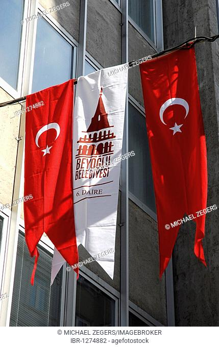 National flags at the annual festival of the Republic on October 29th, Istiklal Caddesi, Beyoglu district, Istanbul, Turkey