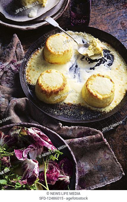 Twice-baked cauliflower souffles