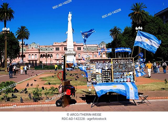 Souvenir stall in front of the Casa Rosada seat of Government Plaza de Mayo Buenos Aires Argentina