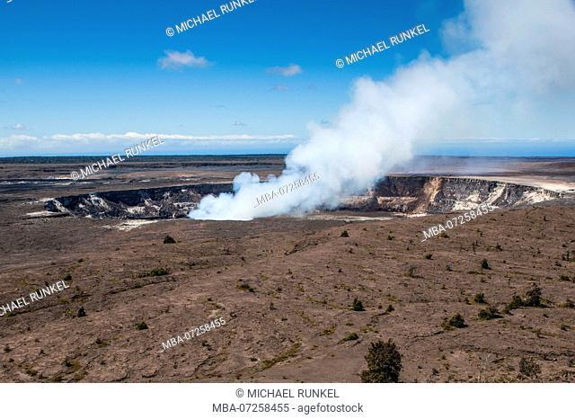 Smoking K?lauea Summit Lava Lake in the Hawaii Volcanoes National Park, Big Island, Hawaii