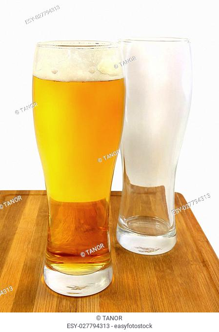 Bright light beer glasses and empty glass on a white background