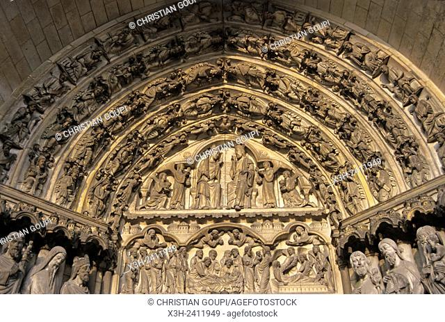 tympanum of the central portal of west facade of the Cathedral, Laon, Aisne department, Picardy region, northern France, Europe