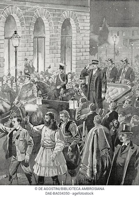 Prince George of Crete departing Athens for Crete, Greece, drawing by Achille Beltrame (1871-1945), from L'Illustrazione Italiana, Year XXIV, No 8, February 21