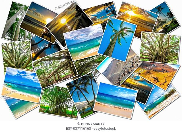 Hawaii pictures collage of different famous locations landmark of Maui island in Hawaii, United States on white background