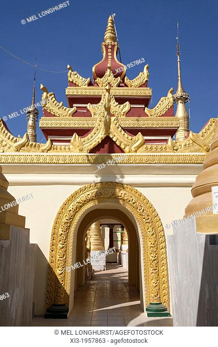 Colourful arch at the Shwe Indein Pagoda, Indein, Shan State, Myanmar, (Burma)