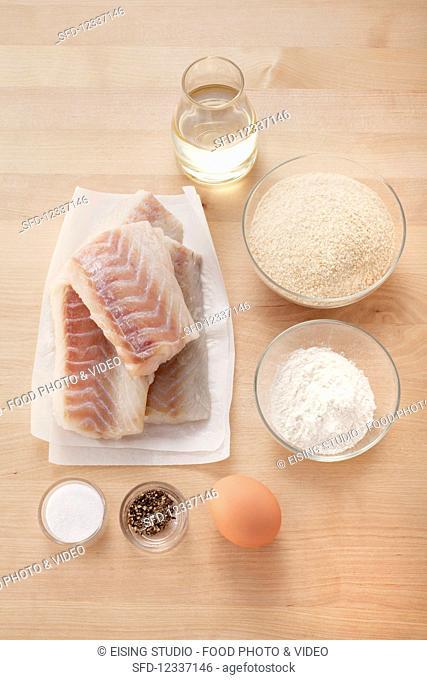 Ingredients for battered fillet of pollock