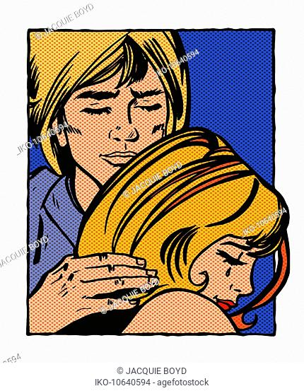 Man consoling crying girlfriend