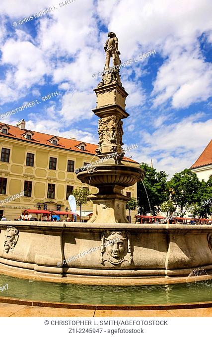 Fountain in Hlavnenam Square Bratislava