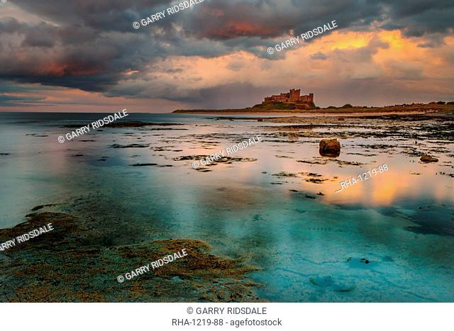 Bamburgh Castle and beach, Northumberland, England, United Kingdom, Europe
