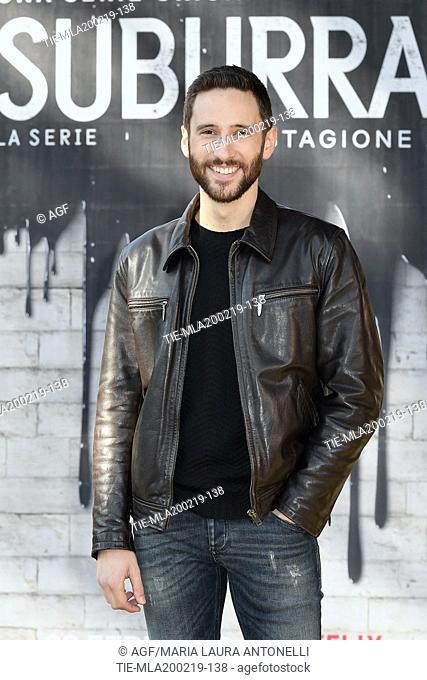Jacopo Venturiero during photocall of the second season of Italian fiction 'Suburra', Rome 20-02-2019