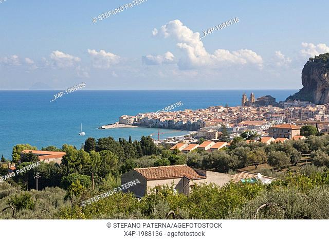 Panoramic view of Cefalu and La Rocca mountain, Sicily, Italy