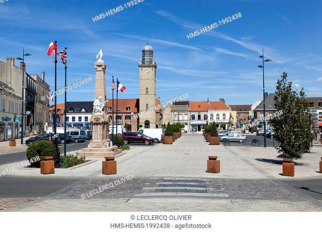 France, Nord, Gravelines, belfry listed as World Heritage by UNESCO and Place albert Denvers