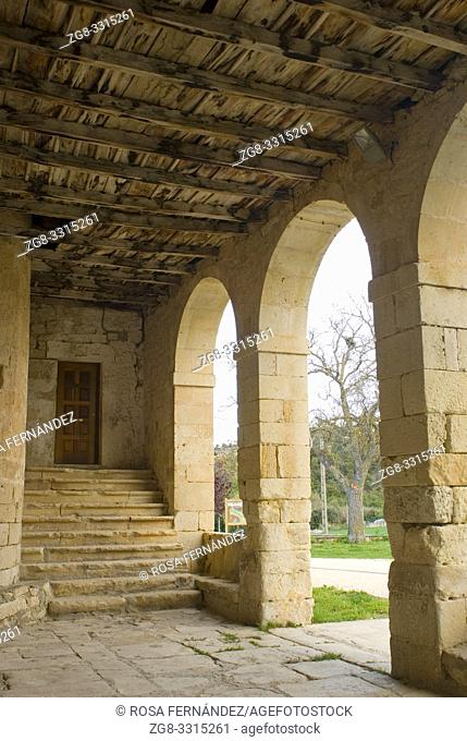 Entrance portico, San Miguel Arcangel Church in Romanesque style, XII Century, Valdenoceda, Las Merindades County, province of Burgos, Castilla y Leon, Spain