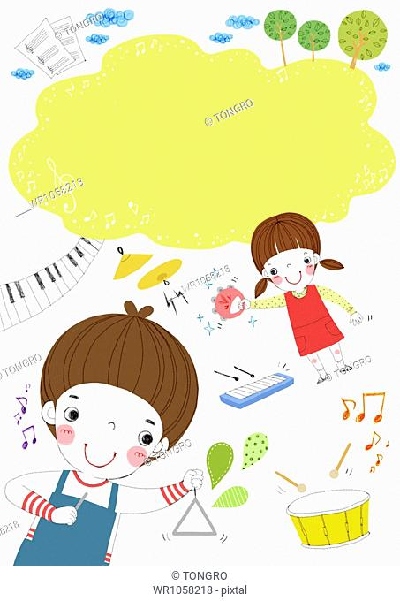 memo template featuring kids in music class