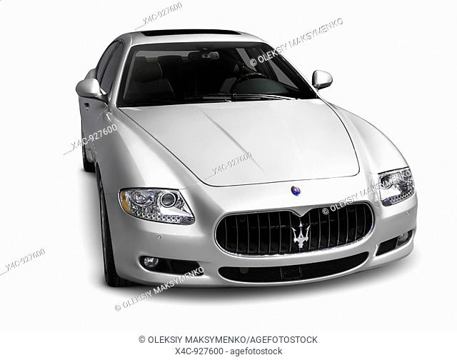 Silver 2009 Maserati Quattroporte S luxury sports sedan  Isolated car on white background with clipping path