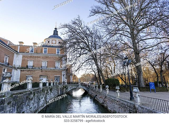 Royal Palace, Tagus Channel and Island Garden in Aranjuez. Madrid. Spain. Europe