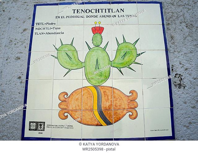 Explanation of the glyph structure of 'Tenochtitlan', Zócalo, Mexico City