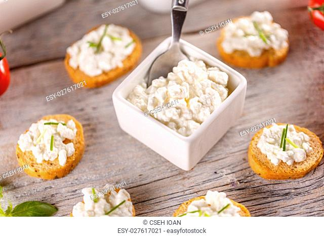 Bread rusks fine toasted appetizers with cottage cheese