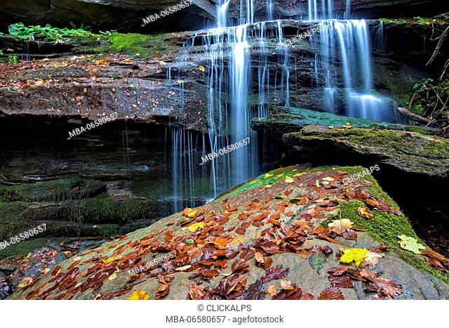 Waterfall in Autumn with foliage, Foreste Casentinesi NP, Toscana, Italy
