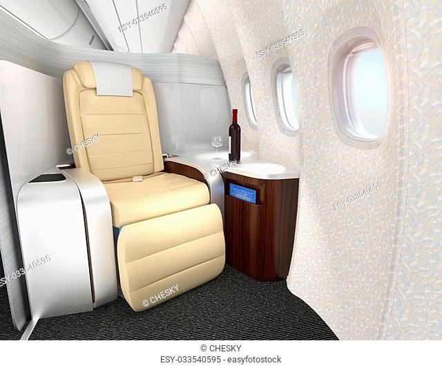 Close-up of luxurious business class seat with metallic silver partition. 3D rendering image in original design