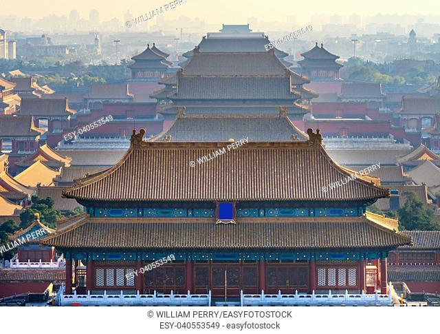 North Red Entrance Many Yellow Roofs Halls Gugong Forbidden City Beijing China Taken from Jinshang Park looking towards Tiananmen Square
