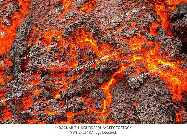 Glowing Lava flowing, Holuhraun Fissure Eruption, Bardarbunga Volcano, Iceland. August 29, 2014 a fissure eruption started in Holuhraun at the northern end of a...