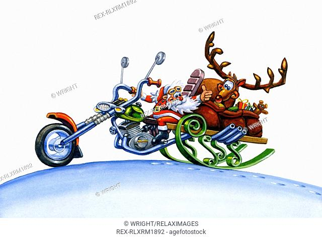 Illustration of Santa Claus and Rudolph delivering Christmas presents